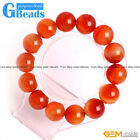 "Handmade Natural Carnelian Agate Beaded Round Stretchy Bracelet 7""Free Shipping"