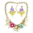 Ladies Flower & Pearl Beaded Cluster Statement Necklace & Earring Set LAST ONE