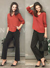 ts66 Ladies Women's Long Sleeve Work Business Office Chiffon Blouse Shirt 10 12