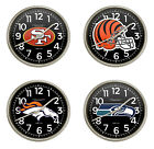FCR8 NFL THEMED SILVER FINISH 11 PLASTIC ROUND WALL HANGING CLOCK
