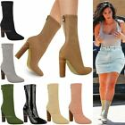 Womens Ladies Knitted Ankle Boots Stretchy Block High Heels Celebrity Shoes Size