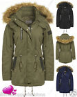 NEW Womens FAUX FUR PU CANVAS PARKA Ladies JACKET COAT PADDED Size 8 10 12 14 16