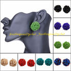 New Fashion Jewelry Women Multicolor Resin Seed Cluster Beads Stud Earrings Set