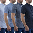 Mens Shirts Short Sleeve Casual Stallion Slim Fit Formal Shirt Top S M L XL New