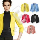 Women Slim Office Blazer Suit Jacket 3/4 Sleeve Padded Shoulder Coat  S-L