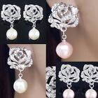 #E505A Wedding Party CLIP ON EARRINGS Crystal Rose Dangle Faux Pearl Comfy NEW