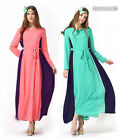 Women Muslim Long Sleeve Kaftan Abaya Jilbab Islamic Cocktail Vintage Maxi Dress