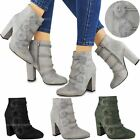Womens Ladies Ankle Boots High Block Heels Faux Fur Pom Poms Booties Shoes Size