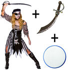 Ladies Zombie Ghost Ship Pirate Fancy Dress Halloween Costume + Sword + Make Up