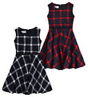 Girls Sleeveless Winter Check Skater Dress New Kids Party Dresses Ages 3-12 Yrs