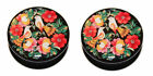 Pair of Vintage Flowers Love bird Acrylic Screw-Fit Ear Plugs Tunnel 4mm - 25mm