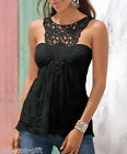 GIFT Black Women Round Collar T-shirt Lace Stitching Backless T-shirt Vest