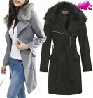 New Women Wool Blend Winter Coat Detachable Fur Collar Long Jacket Size 8 to 16