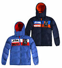 Boys Star Wars Puffa Coat New Kids Hooded Padded Blue Winter Jacket 4-10 Years