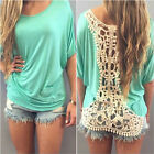 Women's Casual Looes Tops Blouse Shirt Ladies Mini Back Hollow Short Sleeves Tee