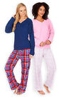 Ladies V Neck Long Sleeved PJ Set New Womens Fleece Check Pyjamas Sizes UK 8-22