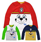 Boys Paw Patrol Long Sleeved T-Shirt New Kids Chase Marshall Rocky Tops 3-6 Yrs