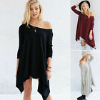 Women Lady Off The Shoulder Cotton Tops Long Sleeve Blouse Tee Shirt Tunic Dress