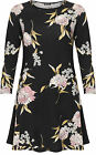 Womens Plus Floral Print Swing Dress Top Ladies Long Sleeve Round Neck Flared