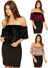 Womens Velour Off Shoulder Crop Party Top Ladies Tiered Ruffle Frill Bardot