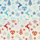 Stag Reindeer Snowflakes Christmas Tree Festive Stars 100% Cotton Fabric