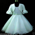 Off Whites Christmas Wedding Flower Girls Dresses + Cardign SIZE 2,3,4,5,6,8,10Y