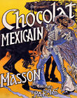 POSTER CHOCOLATE MEXICAIN MASSON BLACK HORSE MEXICAN VINTAGE REPRO FREE S/H