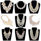 White Pearl Beaded Chain White Drop Pearl Choker Chunky Statement Bib Necklace
