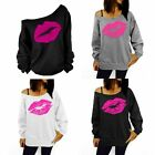 Fashion Lips Sweatshirt Sweater Blouse  Women's Off Shoulder Tops Blouse S M L