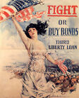POSTER FIGHT OR BUY BONDS WAR AMERICAN TROOPS ARMY FLAG VINTAGE REPRO FREE S/H