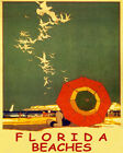 POSTER FLORIDA BEACHES SAND SEAGULLS USA SUMMER TRAVEL VINTAGE REPRO FREE S/H