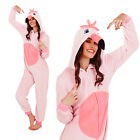 Womens 3D Flamingo Onesie Ladies Super Soft Hooded Tropical Bird All In One