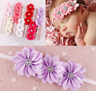 Baby Girls Unique flower Two Rose Flowers Pearl Rhinestone Hair Band Headband