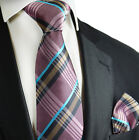 Orchid Haze Plaid Silk Tie and Pocket Square by Paul Malone