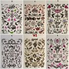 6 SHEETS GIRLS TEMPORARY TATTOOS SKULLS WORDS HEARTS LETTERS FLOWERS UK SELLER
