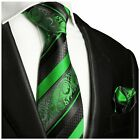 Green and Black Silk Tie and Pocket Square by Paul Malone