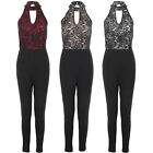 Womens Sleeveless Plunge Halterneck Lurex Lace Glitter Overlay Smart Jumpsuit