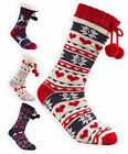 Ladies Fairisle Christmas Slipper Socks New Womens Winter Cosy Gripper Bed Sock