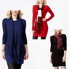 New ENERGIE Juniors Sweater Dress Long Sleeve Tunic Scarf XS S M XL Red Blue Bk