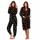 Loungeable Boutique Womens Flamingo Print Robe Or Hooded Onesie Pyjamas Set