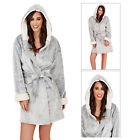 Loungeable Boutique Womens Hooded Short Bath Robe Ladies Luxury Dressing Gown