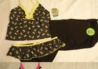 MALIBU Size 16 Black Yellow Bow Polka Dot Swimsuit Set NWT Swimwear