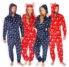 Unisex Christmas Print Onesie New Ladies Mens Reindeer Snowman All In One XS-XL