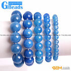 Handmade Natural Stone Blue Agate Beaded Stretchy Bracelet Free Shipping 7""
