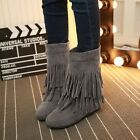 Womens Faux Suede Hidden Mid Heels Wedges Ankle Boots Korean Tassel Slouch Boots