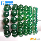 Handmade Natural Green Agate Gemstone Beaded Stretchy Bracelet Free Shipping 7""