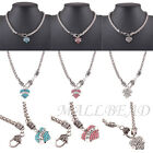 Love Hope Faith Heart Charm Crystal Rhinestones Choker Necklace Jewelry Chunky