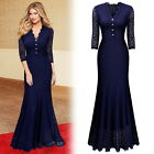 Women's Long Formal Cocktail Evening Party Wedding Prom Lace Maxi Fishtail Dress