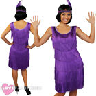 DELUXE PURPLE FRINGE FLAPPER FANCY DRESS ADULT CHARLESTON COSTUME 1920'S 1930'S