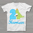 2nd Second Birthday Dinosaur Shirt - Personalised Childrens Kids T-Shirt Tshirt